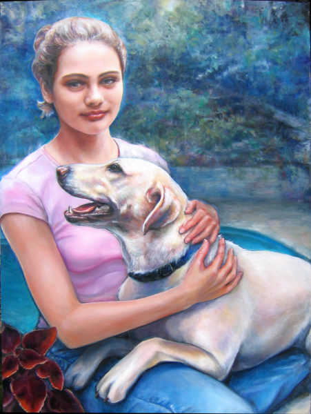 ktdukeartist-girl and dog portrait-oil-aubrey and lolly