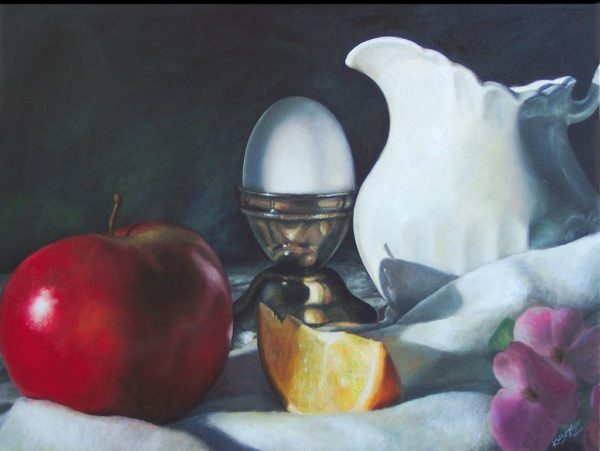 ktdukeartist-still life-oil on canvas-rosalies breakfast. Highly detailed realistic still life depicting fruit, egg, and antique tableware