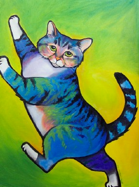 ktdukeartist-whimsical portrait-acrylic-blue pink molly