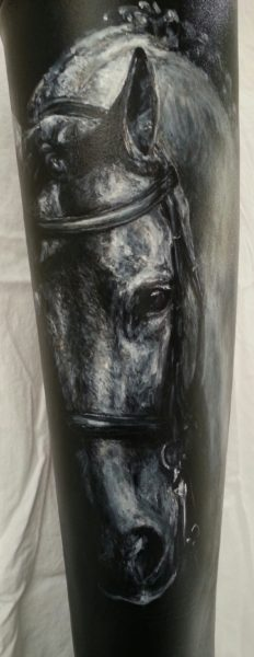 acrylic paint on leather boot