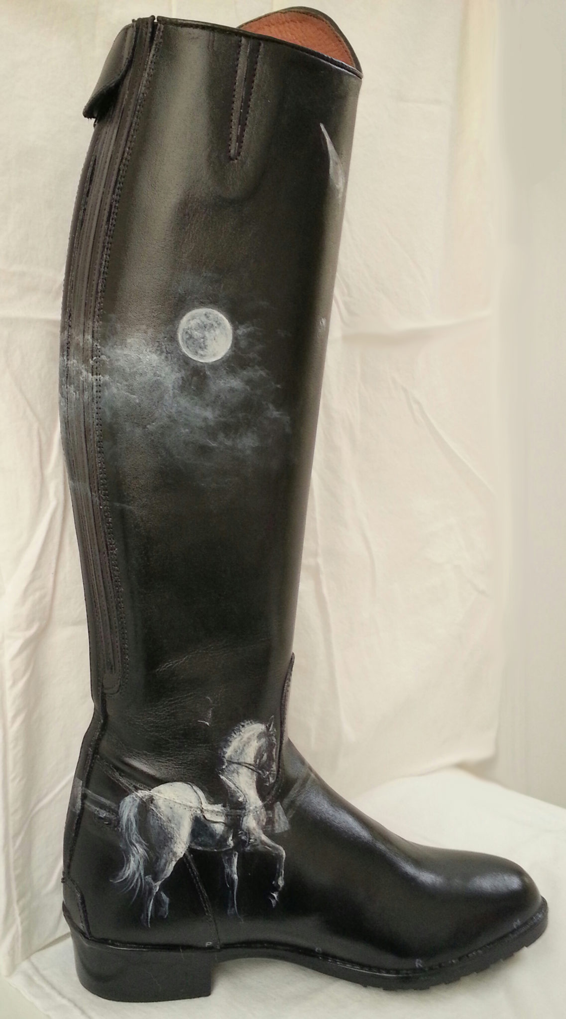 Leather boot painted with acrylilcs by Kathy Taylor Duke