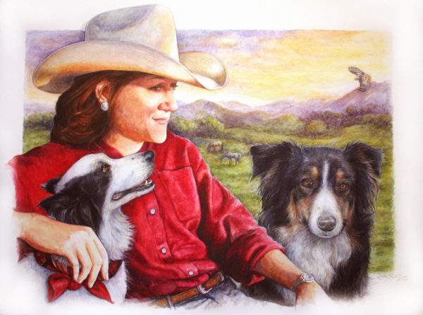 ktdukeartist- portrait-watercolor and colored pencil-dogs and people-reflecting on dream