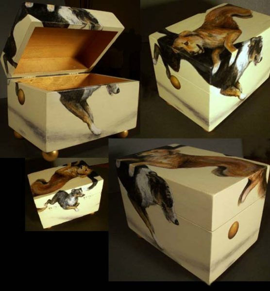 acrylic paint on small wooden box by Kathy Taylor Duke