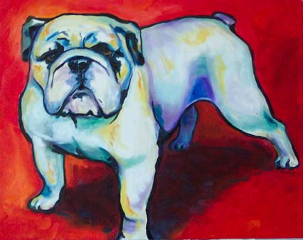 ktdukeartist-whimsical portrait-acrylic-red and black bulldog